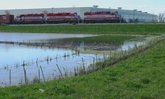 Red Coats (Wide Cab) Tags: reflection water pond wsor wisconsinsouthern oshkoshwi l595 oshkoshsub oshkoshjob