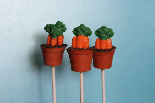 Pots of Carrots Cake Pops