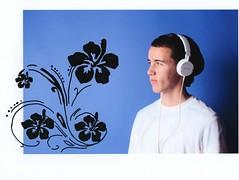 Jonathan Shanley (Mattias' Photography) Tags: flowers portrait man print drawing headphones sharpie through 365