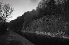 Rochdale Canal (Saturated Imagery) Tags: blackandwhite rollei 35mm ir canal iso400 ivy rockface infrared towpath sowerbybridge redfilter waterways selfdeveloped rochdalecanal calderdale filmslr microphen vivitar28mmf25 epsonv500 prakticatl5b rolleiretro400s filmdev:recipe=7536