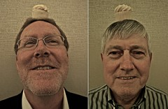 Two Guys That Like to Put Cupcakes on Their Heads (ricko) Tags: cupcakes howard lee heads