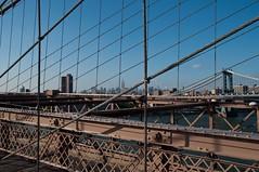 Landmark Ahoy! (brev99) Tags: bridge blue red metal river landscape cityscape manhattan bluesky cables brooklynbridge manhattanbridge empirestatebuilding sigma1770os