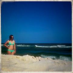 Mirage (bluejetjane) Tags: ocean summer portrait selfportrait beach water self sand nikon florida border courtney bluesky sp bikini flare mirage pensacola beachbum selfie zoomblur perdidobeach d5100