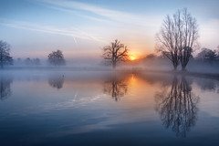 Imperfections (Kevin Day) Tags: mist lake reflection misty sunrise dawn quiet tranquility slough berkshire kevday tranquil langleypark
