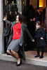 Salma Hayek loses her footing and falls over as she leaves the Four Seasons George V hotel while holding her daughter Valentina's hand. The actress is in Paris to promote her latest film, Puss In Boots Paris, France