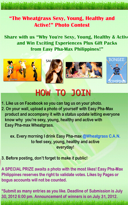 Easy Pha-Max Wheatgrass Sexy, Young, Healthy & Active Photo Contest mechanics
