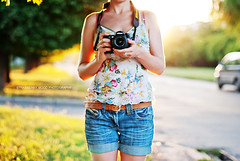 World through the camera (Strawberry Mood) Tags: road street camera trees light sunset summer portrait woman sunlight selfportrait girl youth outside hands shoot mood photographer path young jeans short shooting photocamera strawberrymood
