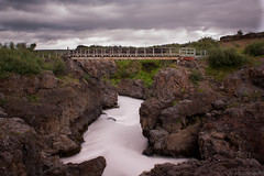 old bridge over milky river (JorunnSjofn) Tags: bridge summer vacation sky holiday nature canon river lava waterfall iceland rocks july formation filter le nd 2012