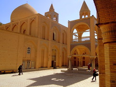Vank cathedral inner courtyard (Germn Vogel) Tags: shadow brick tower church asia catholic iran cathedral religion middleeast belltower christian dome christianity isfahan armenian islamicrepublic westasia julfa newjulfa earthasia gettyimagesmiddleeast
