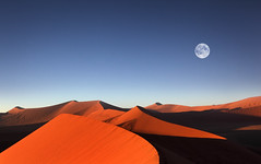 Namibia, Sossusvlei (Dietmar Temps) Tags: africa blue orange moon colors landscapes sand desert dunes dune fullmoon afrika namibia sossusvlei namib southernafrica dune45 namibdesert namibnaukluftnationalpark flickraward