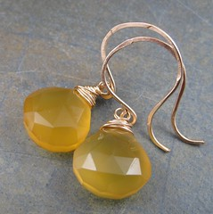 Golden Chalcedony Briolette Earrings (AshleighAnnette) Tags: yellow golf golden amber beads juicy hammered heart handmade filled faceted plump hooks chalcedony