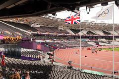 Olympic Flame and Flag (jaycees2012) Tags: greatbritain england london athletics unitedkingdom olympics olympicstadium olympicpark olympicgames london2012 greaterlondon londonboroughofnewham 2012summerolympicgames gamesofthexxxolympiad