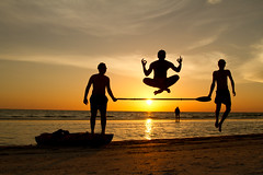 Beach Fun (Ant1_G) Tags: ocean park friends sunset usa beach water silhouette de mexico happy team kayak gulf state time florida fort good joy paddle levitation happiness fl soto blinkagain bestofblinkwinners
