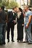 Chase Crawford and Michelle Trachenberg on the set of 'Gossip Girl' in Midtown, Manhattan. New York City, USA