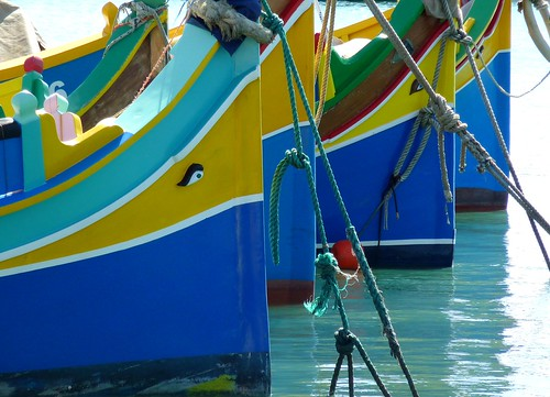 Boats in the harbour of Marsaxlokk, Malta