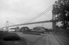 2156.Tancarville Bridge (Greg.Photographie) Tags: bridge blackandwhite bw mist film analog noiretblanc wideangle pont normandie miranda ilford fp4 f28 25mm sensorex tancarville r09