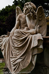 Contemplative Angel, Mountain View Cemetery, Oakland, CA (donberry37 (SF Bay Area)) Tags: cemetery grave statue angel death oakland memorial dupicate