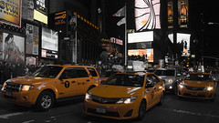 Need a cab? (H.A.T. Photography) Tags: nyc newyorkcity canon manhattan cab taxi timessquare bigapple selectivecolour canoneos40d bigcityliving tokinaaf1931935mmf3545 hatphotography hardlyatownphotography
