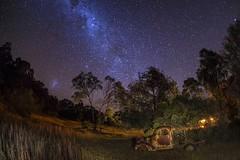 Milky way drive (merbert2012) Tags: longexposure travel cars nature stars fun nationalpark rusty australia fisheye queensland paintingwithlight milkyway stanthorpe milchstrasse nikond800