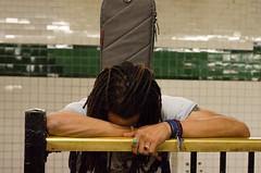 tired on platform (zac evans photography) Tags: city nyc urban music newyork brooklyn subway island waiting metro guitar platform queens tired manhatten staten exhausted zacevansphoto