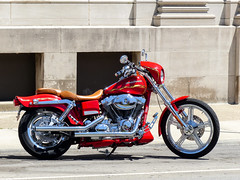 Shiney Red Harley (J Wells S) Tags: ohio red flames harley chrome harleydavidson motorcycle hd wilmington vtwin