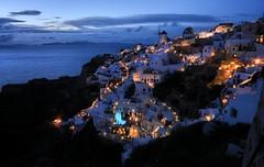 Dusk Falls, Santorini, Greece (ott.geoffrey) Tags: windmill landscape island lights twilight darkness dusk santorini greece vista bluehour gloaming