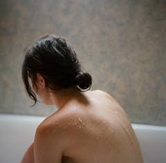(Julia Genet) Tags: portrait woman selfportrait 6x6 film water girl analog naked nude square bathroom back autoportrait kodak nu femme drop dos medium format normandie pentacon fille argentique nue carr moyenformat kodakportra160 chennebrun