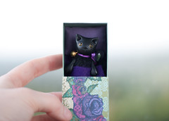 in violet bed (free_dragonfly) Tags: black cute art cat toys miniature clay matchbox polymer