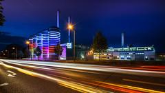 The color of industy (K.H.Reichert) Tags: chimney berlin industry night deutschland colorful nightshot trails silo lighttrails industrie schornstein nachtaufnahme blauestunde storagefacilities nachtfoto industrieanlagen industrialfacility