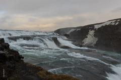 Gullfoss in the Evening (spookyrod) Tags: light snow ice clouds circle golden evening waterfall iceland waterfalls gullfoss