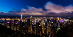 Hong Kong from Victoria Peak (Mark Willard Photography) Tags: hong kong twilight dusk dark night tripod nikon d810 nighttime landscape cityscape wide angle uwa ultrawide clouds long exposure china 1424