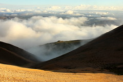 Theres always sun above the clouds... (Freyja H.) Tags: iceland reykjavk mskarshnjkar mountain pass scree rhyolite geology nature landscape outdoor view mountainside cloud fog