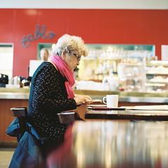 at cafe (soreikea) Tags: 2015 zenzabronica s2 film analog kodak portra160 helsinki finland cafe madame pink