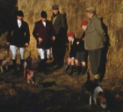 Out with the hunt (theirhistory) Tags: boy child kid england school unifiorm raincoat cap wellies shorts straw bales countery wellingtons