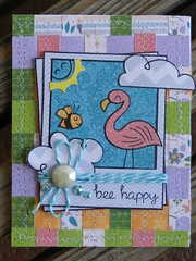 bee happy :) (heathers scrappiness) Tags: voyage bon 6x6 cheese paper gnome cloudy sweet stamps lawn pack fawn card quilted fawns say petite partly the piecing twinery