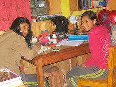 Girls doing homework