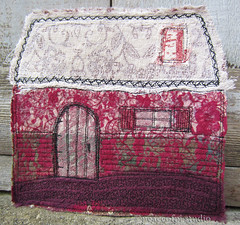 Cottage (JoMo (peaceofpi)) Tags: house canada home j sewing small cottage craft fave fabric quilting fiberart textileart scrapquilt miniquilt rawedge quiltlet peaceofpi