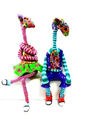 shelf sitter giraffes (**mira pinki krispil-colors of life ***) Tags: sculpture art animal cat handmade fimo clay pinki polymer        mirakris