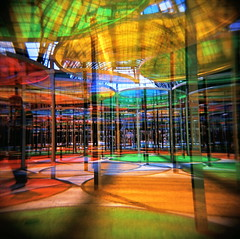 Monumenta 2012 by Daniel Buren (angela marlaud) Tags: light paris france art 120 film colors lines analog holga lomo lomography colorful doubleexposure circles lofi installation 2012 120mm 120n grandpalais danielburen lofidelity monumenta analogu