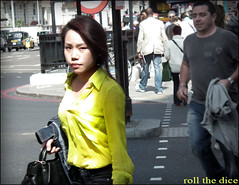 `649 (roll the dice) Tags: china uk portrait people woman signs sexy london art classic girl fashion yellow hair asian japanese funny pretty natural candid chinese strangers streetphotography knightsbridge odd rush unknown kensington reaction unaware brompton sw1 londonist kensingtonchelsea
