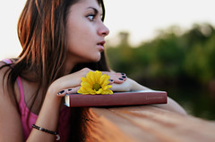 secret garden (Laurarama) Tags: sunset portrait flower girl photography book photo hands profile ontheshelf odc laurarama reasonswhyiaminsane