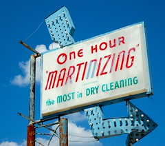 """One Hour """"Martinizing"""" Certifies the MOST in DRY CLEANING (Steve Snodgrass) Tags: old blue light red urban green sign bulb typography one decay dry cleaning most hour font type arrow roadside advertise martinizing certifies"""