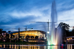 Torrens river fountain and Convention centre (Thielzy) Tags: reflection water fountain buildings lights twilight