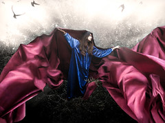 Alchemy (RC Davis) Tags: red bird girl fineart warmth fantasy sunburst angelic divinity fineartphotography otherworldly bluedress idontknow flowingfabric redcloak dontliketabs
