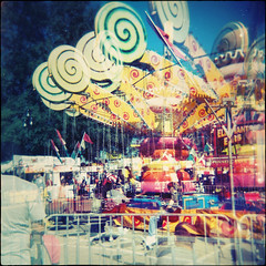 Fence Friday ~ State Fair edition (Irene2005) Tags: fall 6x6 film fence mediumformat holga october ride doubleexposure scan 120mm hff ncstatefair fujicolorpro400 fencefriday