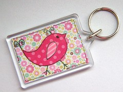 Little Bird Keyring (Crafty Mushroom) Tags: bird keychain keyring doodled