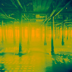 under the pier. santa monica, ca. 2012. (eyetwist) Tags: ocean california santa camera light sunlight green 120 6x6 film water yellow analog square toy la pier losangeles holga los lomo xpro lomography crossprocessed sand surf waves cross pacific angeles santamonica crossprocess horizon tripod toycamera chinese vhc icon ishootfilm plasticfantastic plastic socal monica chemistry medium format pilings analogue process processed vignette hc beams plasticcamera lores 120n emulsion underthepier holga120n angeleno vericolor c41e6 eyetwist holgaography ishootkodak epsonv750pro betterlivingthruchemistry holga60mmf8 filmexif filmtagger eyetwistkevinballuff kodakvericolorhcvhc