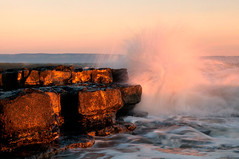 The One where Martin get's soaked by a big wave (martinturner) Tags: light sunset sea heritage beach wet wales point gold golden bay coast seaside rocks waves fluffy wave glamorgan nash splash soaked bridgend splosh dunraven monknash martinturner