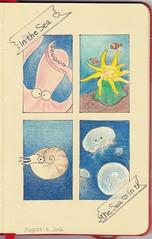 2012_08_06_in_the_sea_01 (blue_belta) Tags: blue sea art moleskine sketch jellyfish drawing octopus  nautilus coloredpencil