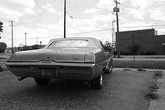 Sky (Flint Foto Factory) Tags: auto county city blue summer urban bw white black classic industry 1969 home car clouds vintage town buick weeds community 60s automobile midwest gm soft industrial factory view top michigan hometown side parking rear working lot convertible august automotive drop class east sidewalk chrome american faux 1960s collar rag flint genesee skylark 2012 linear rustbelt abody generalmotors intermediate manufacturing midsize 2door courtst threequarter worldcars dorthwy kelsost
